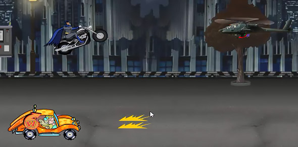image of Batman Street War: Batman firing missiles at helicopter