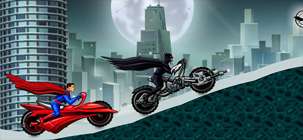image of Batman vs Superman in Heroes Ride: race scene