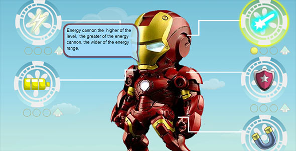 image of Iron Man Go Go Go game upgrades screen