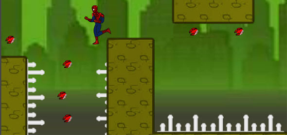 image of Spiderman Escape: running over deadly spikes
